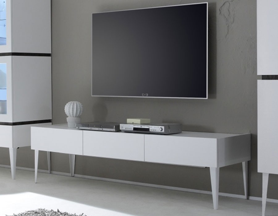 Meuble tv blanc laqu mat for Meuble tele gris