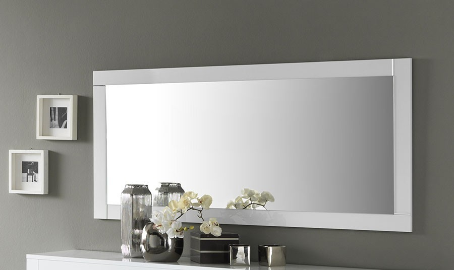 Grand miroir design horizontal blanc laqué TRAVIATA