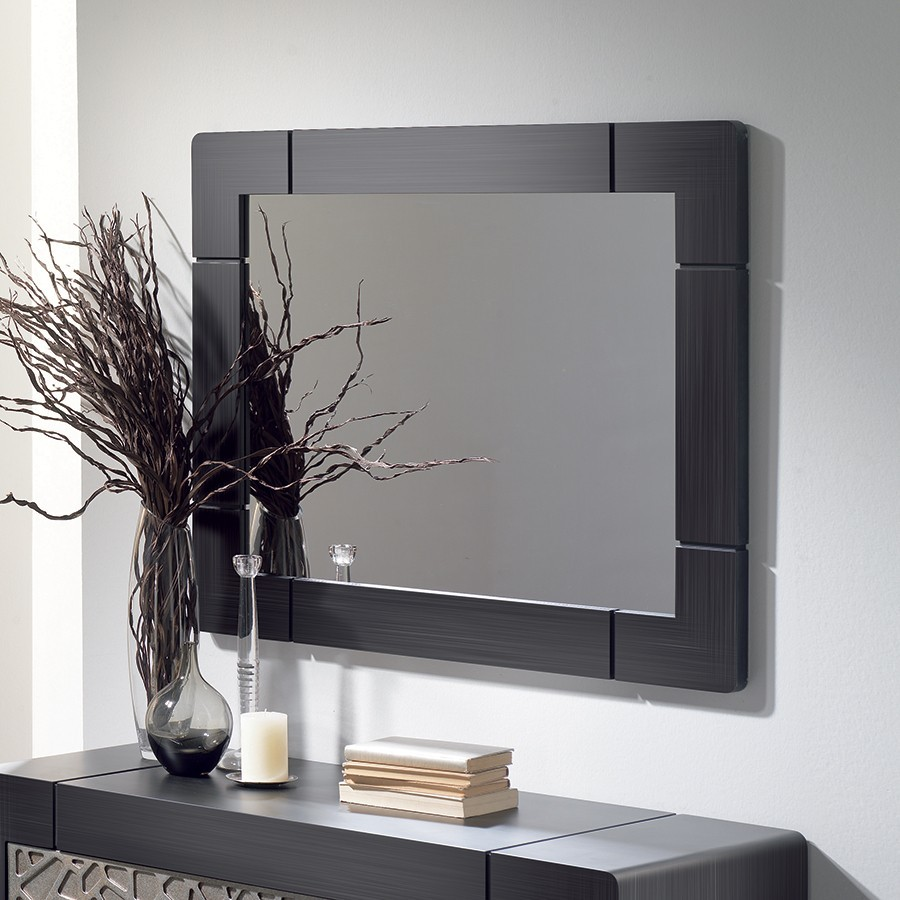 Miroir mural contemporain CAMERON, coloris patiné gris plomb, disponible en 2 dimensions