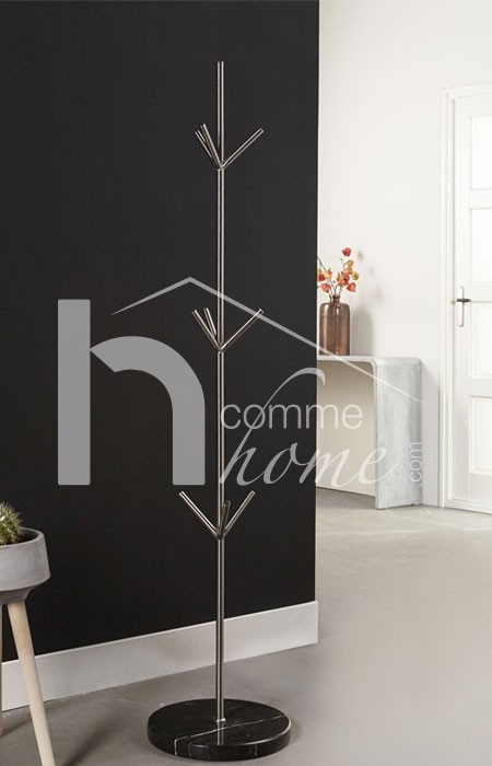 Porte manteau sur pied design en nickel mat et marbre BILLIE