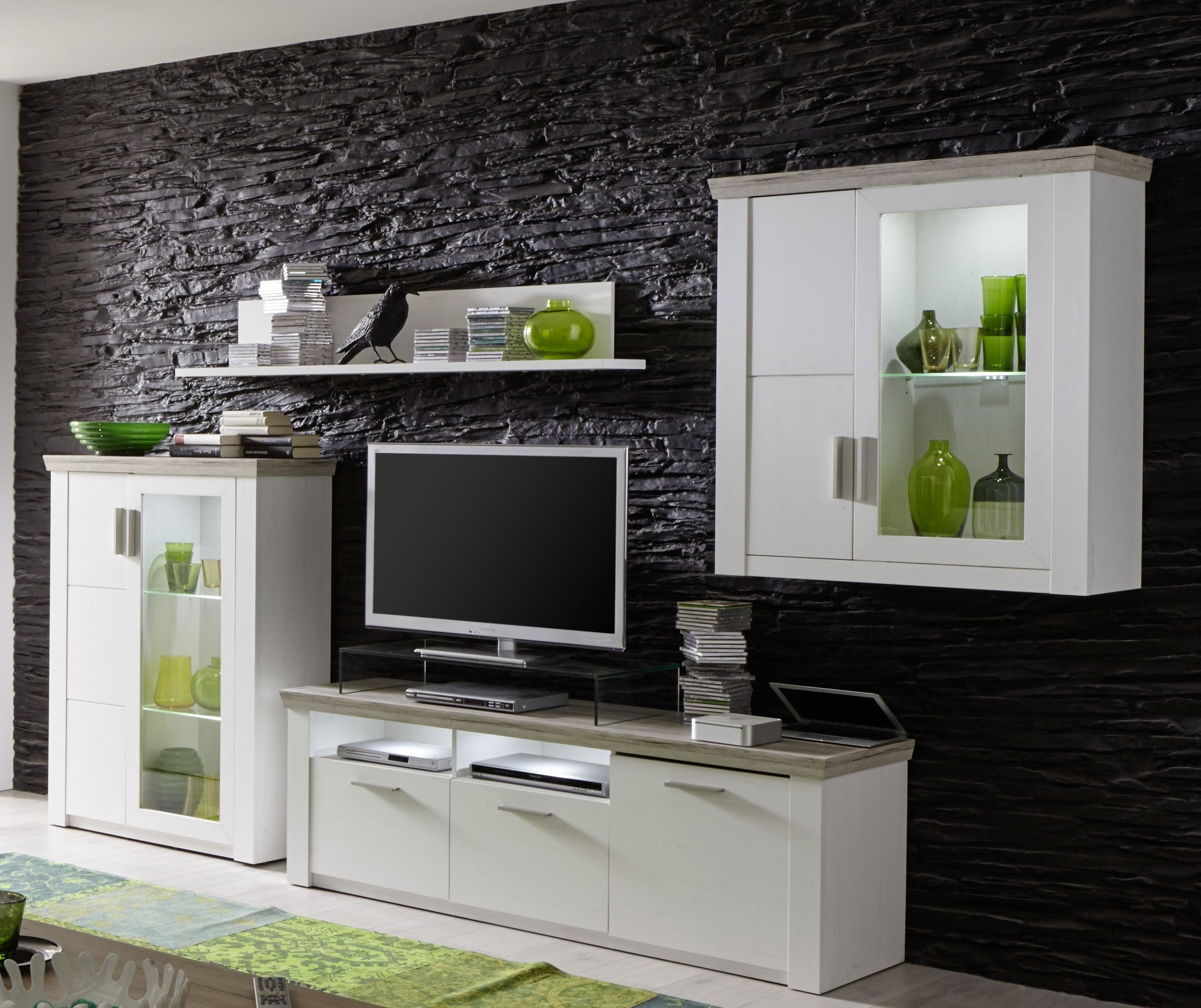 ensemble salon blanc et bois avec des id es. Black Bedroom Furniture Sets. Home Design Ideas