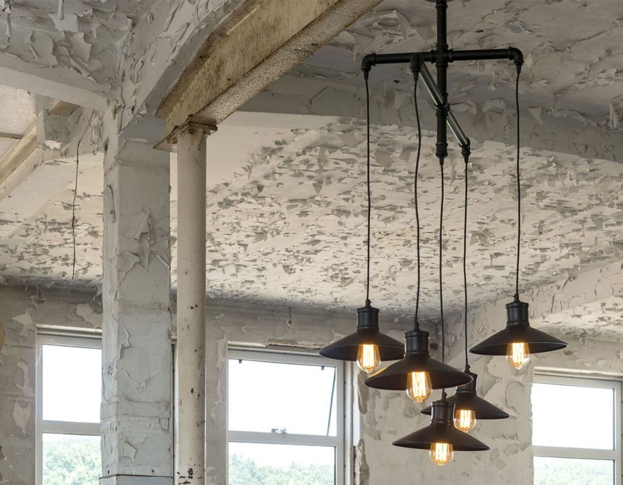 Suspension industrielle 5 lampes en métal noir LORD