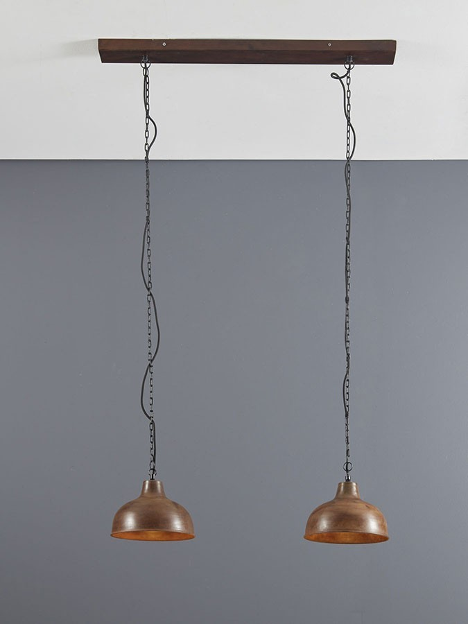 Suspension industrielle 2 lampes marron LEO
