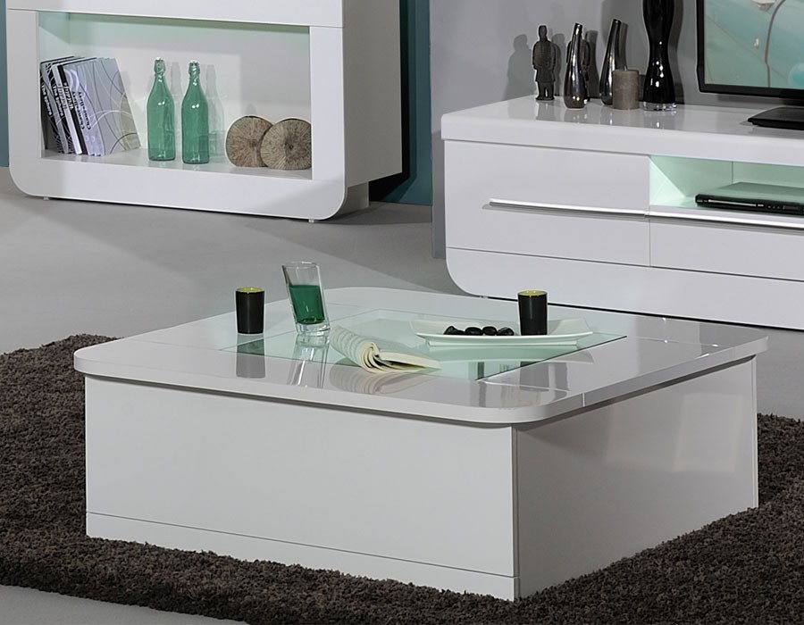 Table Basse Design A Led Blanc Laque Apollon