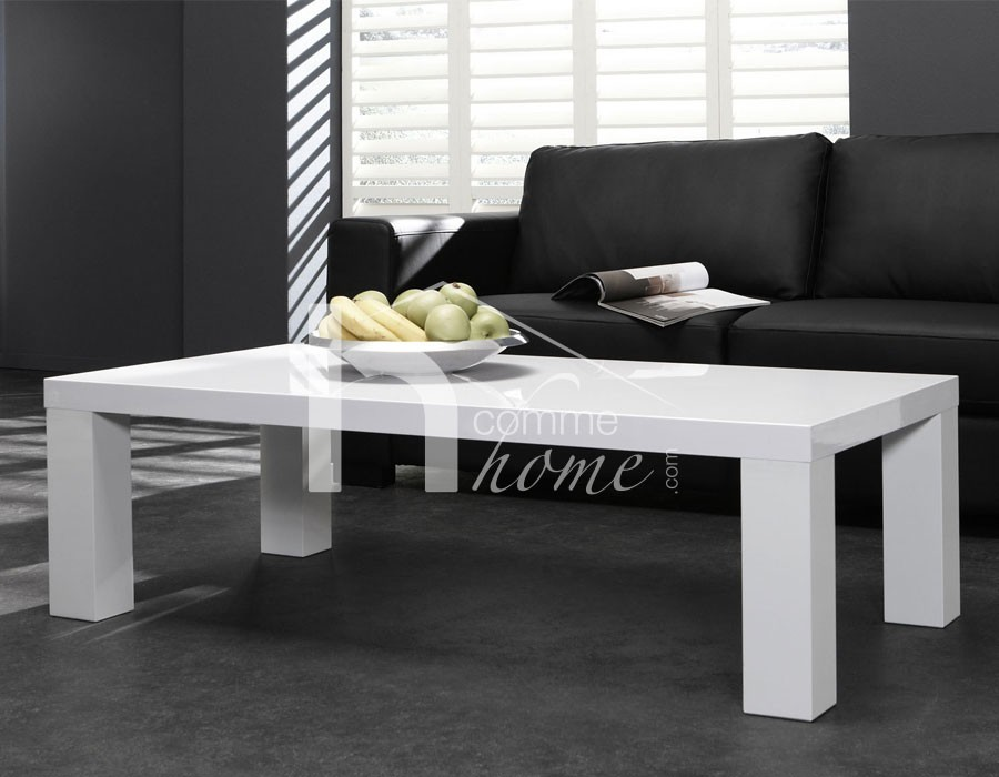 Table basse design laqué blanc LIXA