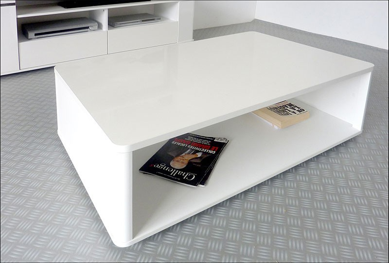 Table basse de salon moderne blanc brillant CLARK