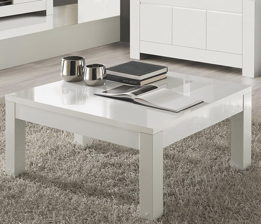 Table basse carrée de salon design blanc laqué TOTTI