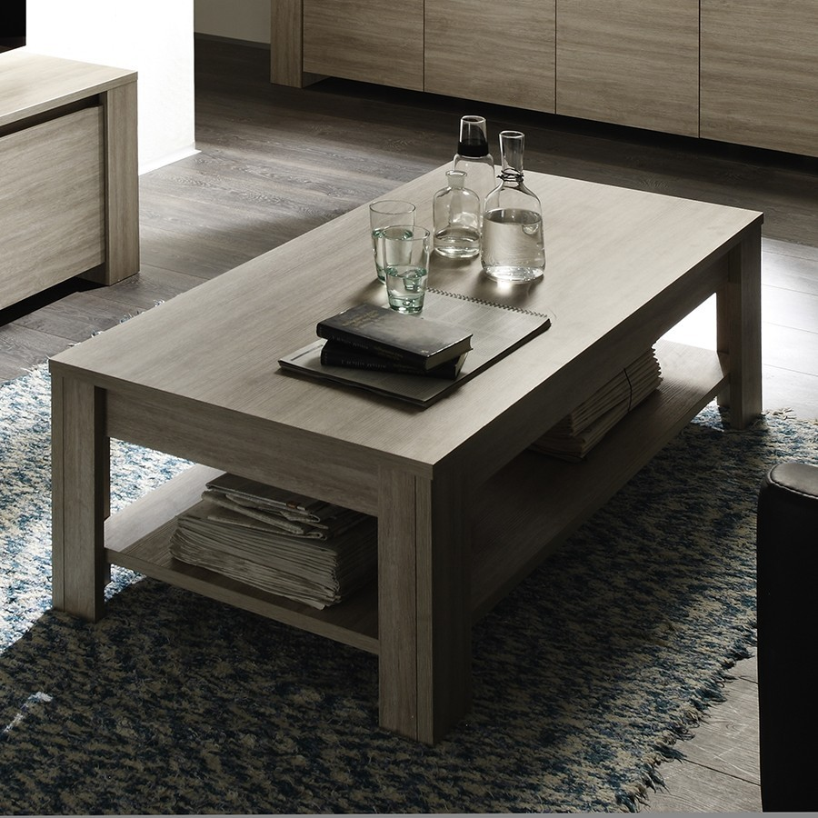 Table basse contemporaine ARGELES, coloris chêne gris