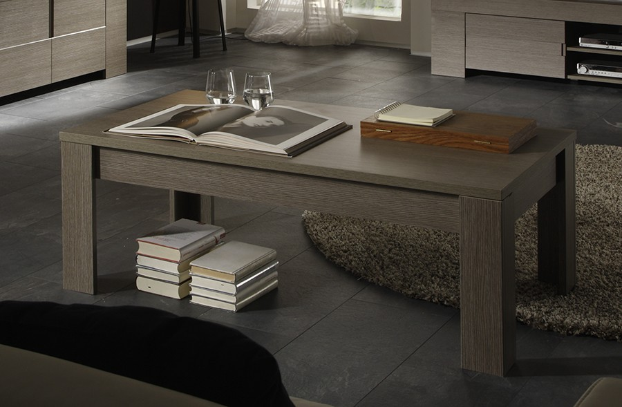Table basse contemporaine TOSCANE, coloris chêne gris