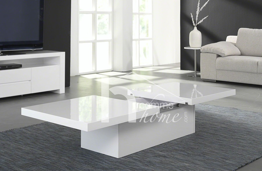 table basse blanc laque avec coffre. Black Bedroom Furniture Sets. Home Design Ideas