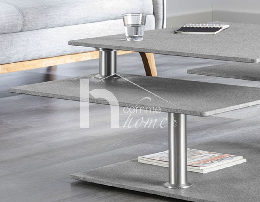 Table basse inox brosse et verre - Customiser table basse ...