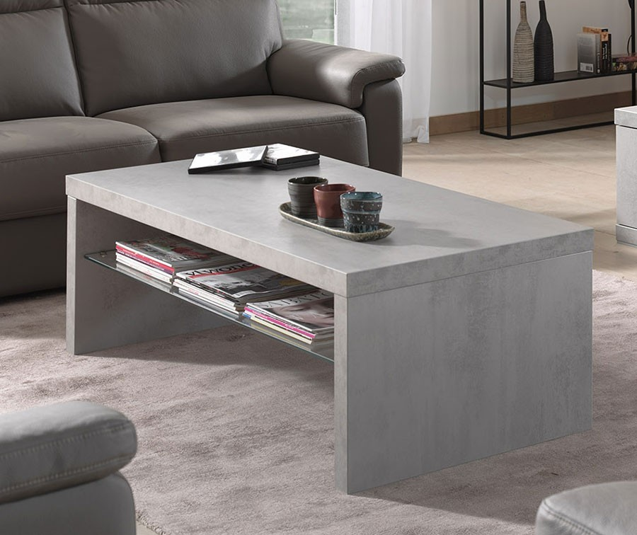 table basse grise effet beton. Black Bedroom Furniture Sets. Home Design Ideas