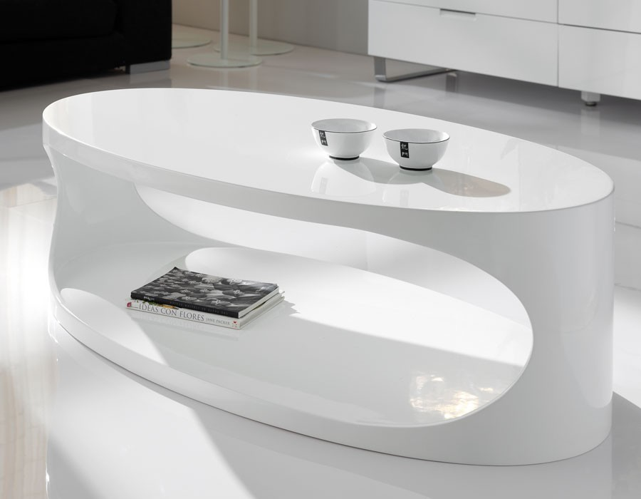 Table basse ovale blanc laqué design EGG