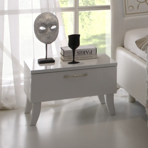 Table de chevet adulte design laquée blanc brillant EMMA, 1 tiroir