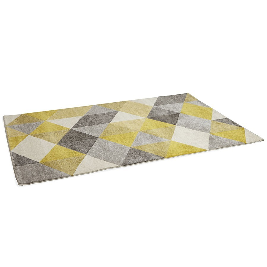 tapis jaune et gris tapis losanges gris et jaune tiss main en laine kaligrafik tapis d coratif. Black Bedroom Furniture Sets. Home Design Ideas