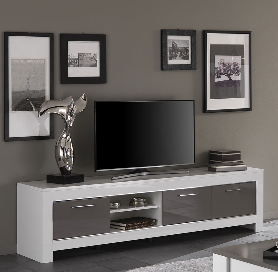 Grand meuble tv blanc laque maison design for Grand meuble tv blanc laque