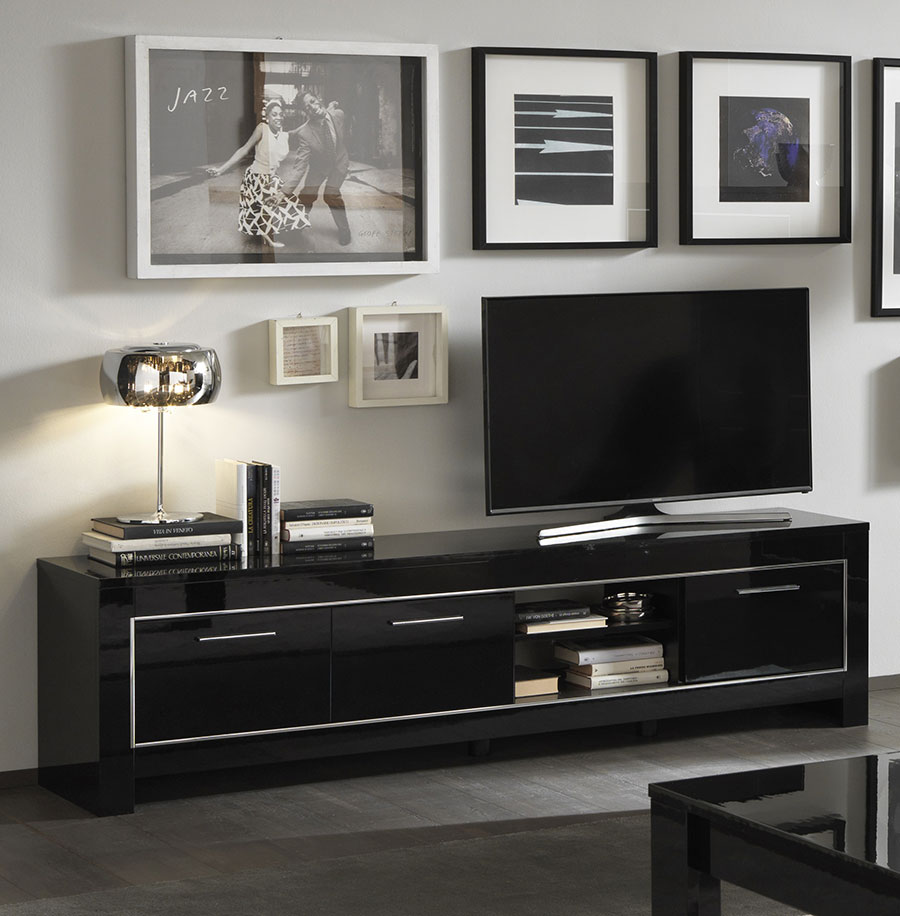 meuble tv noir 2. Black Bedroom Furniture Sets. Home Design Ideas