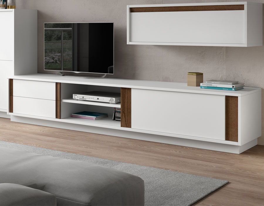 meuble tv blanc et bois noyer solutions pour la. Black Bedroom Furniture Sets. Home Design Ideas