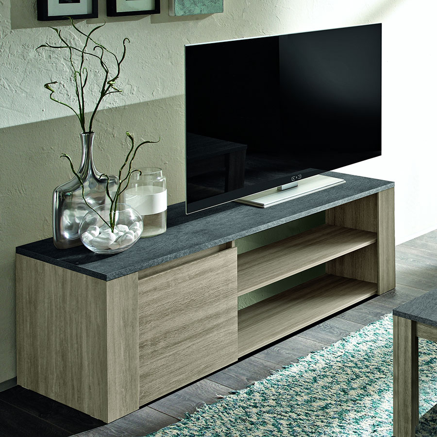 Television guide d 39 achat for Meuble tv gris 110