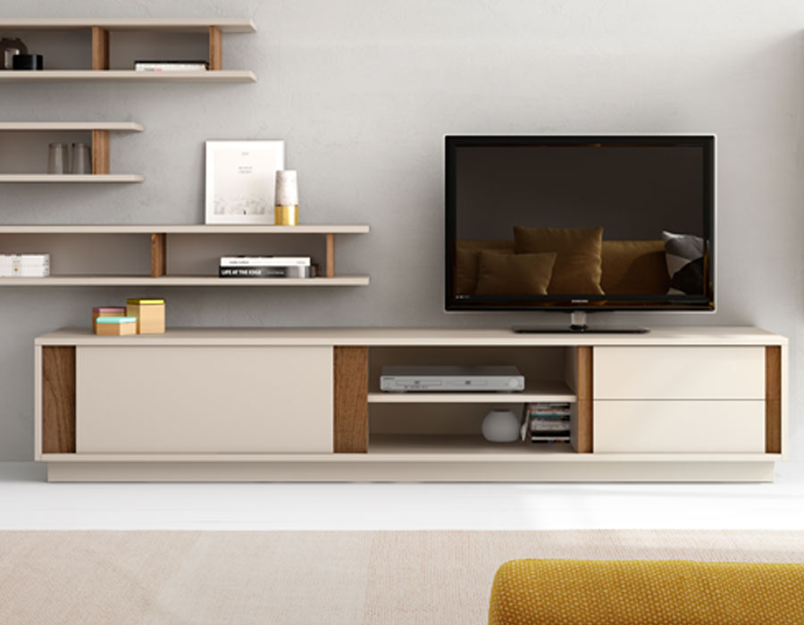 Meuble tv beige blanc sammlung von design for Meuble laque beige