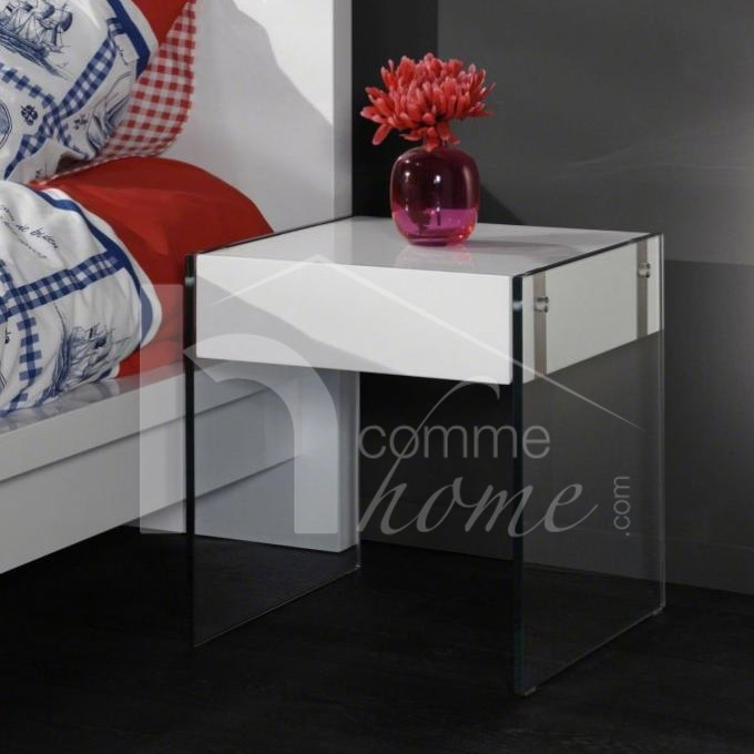 table de nuit verre conceptions de maison. Black Bedroom Furniture Sets. Home Design Ideas