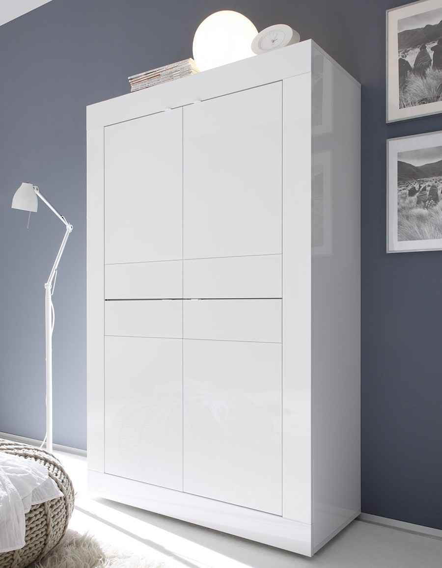 Argentier bar design blanc focus zd1 arg b d for Meuble 4 portes laque blanc