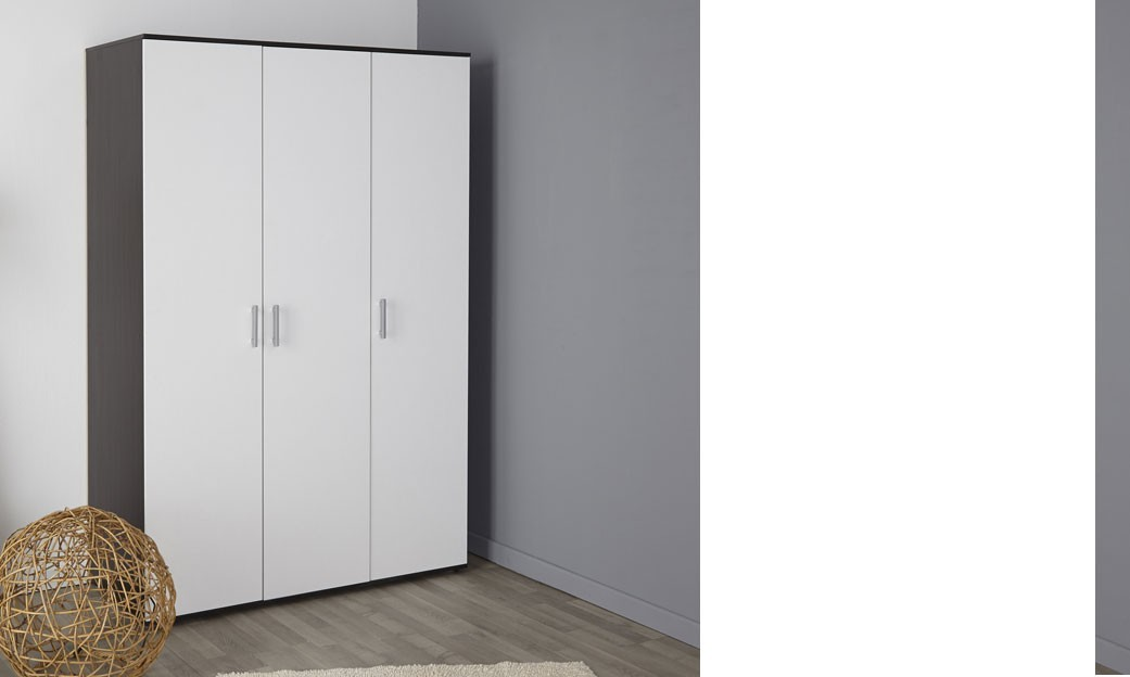 armoire adulte 3 portes couleur blanc et caf escape 3. Black Bedroom Furniture Sets. Home Design Ideas