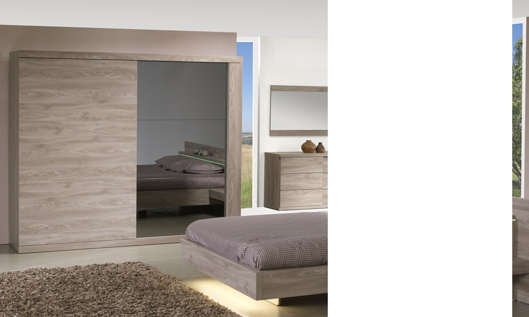 armoire couleur ch ne clair 2 portes coulissantes contemporaine preston. Black Bedroom Furniture Sets. Home Design Ideas