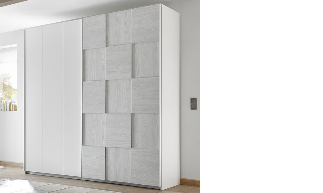armoire design damier gris et blanc natheo 4. Black Bedroom Furniture Sets. Home Design Ideas