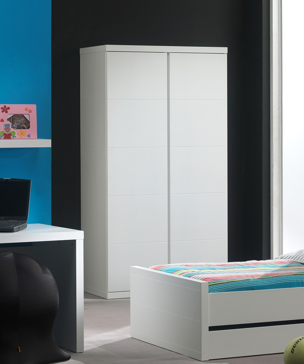 armoire enfant 2portes blanche lorene zd1 arm e. Black Bedroom Furniture Sets. Home Design Ideas