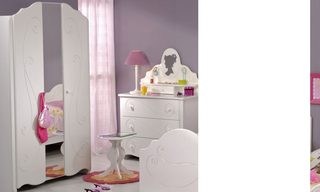 armoire chambre enfant couleur blanc laqu avec miroir. Black Bedroom Furniture Sets. Home Design Ideas