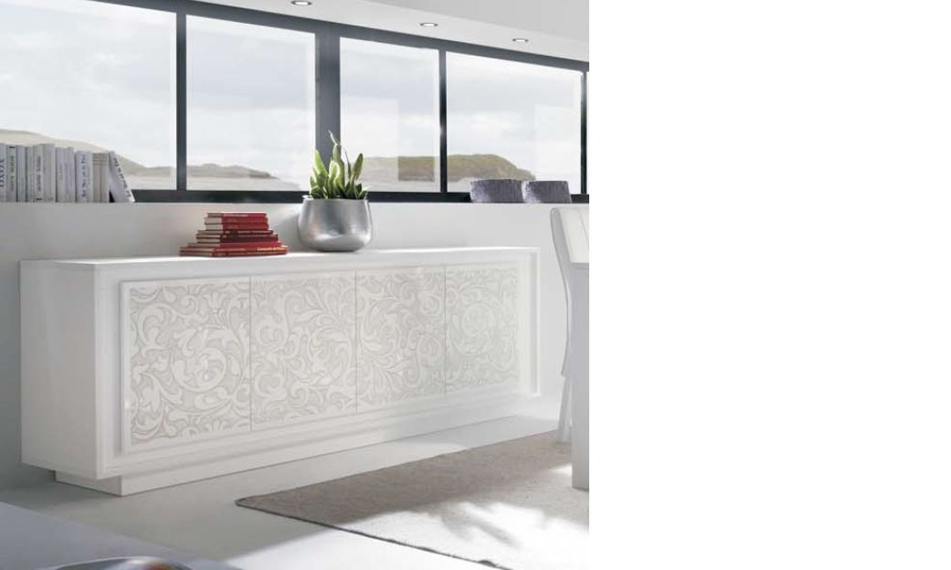 buffet blanc laqu mat design avec motif fleurs arum. Black Bedroom Furniture Sets. Home Design Ideas