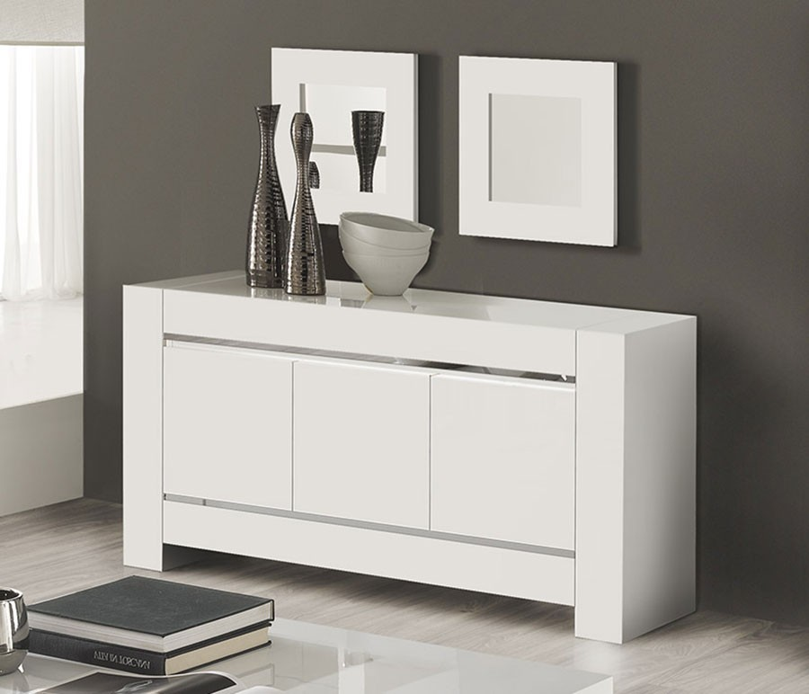 Buffet bahut 3 portes blanc chrome totti 3 zd1 for Buffet salle a manger blanc design