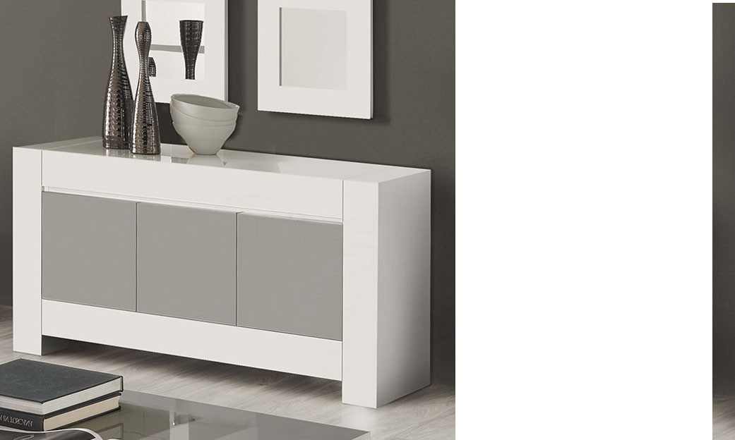 buffet bahut gris et blanc laqu design totti 2. Black Bedroom Furniture Sets. Home Design Ideas