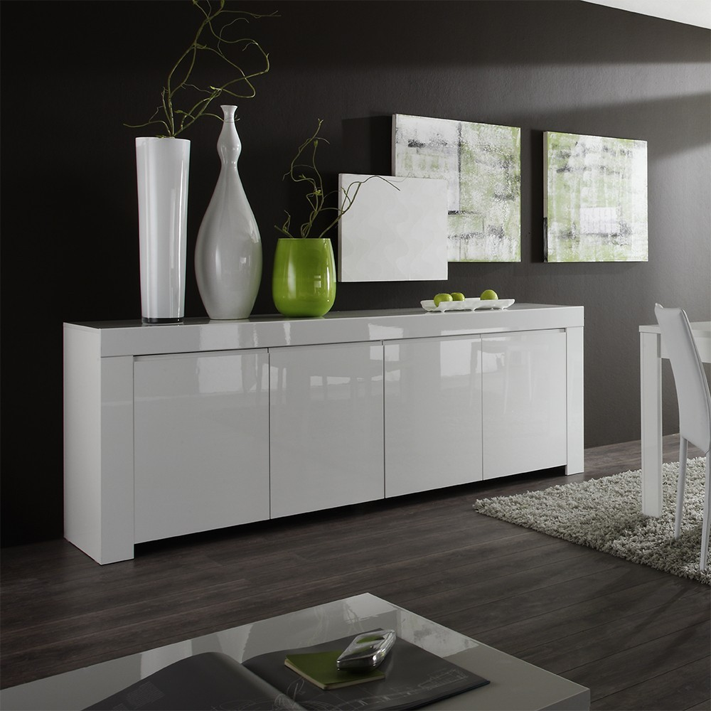 bahut buffet design laqu blanc aphodite - Meuble Tv Design Blanc Laque Aphodite