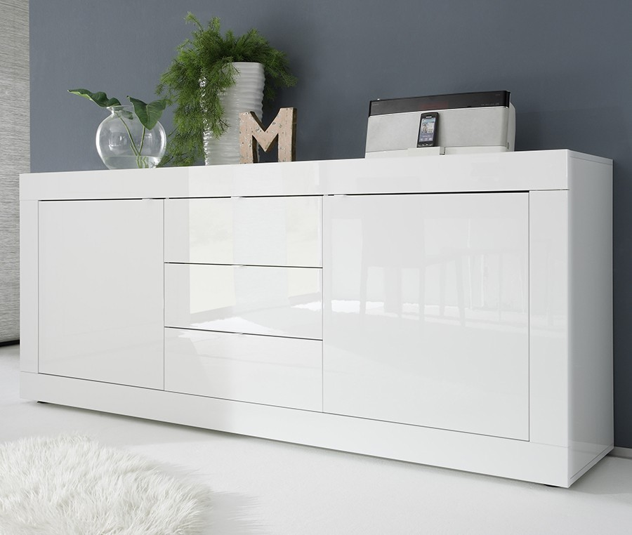 Buffet bahut design laque blanc brillant focus zd1 bah d - Meuble laque blanc brillant ...