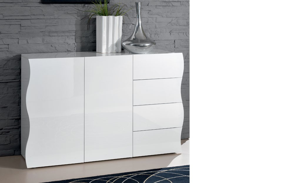 Elegant cheap buffet blanc laqu design portes et tiroirs for Buffet blanc laque conforama
