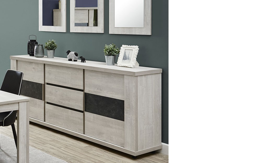 buffet moderne couleur ch ne gris june. Black Bedroom Furniture Sets. Home Design Ideas