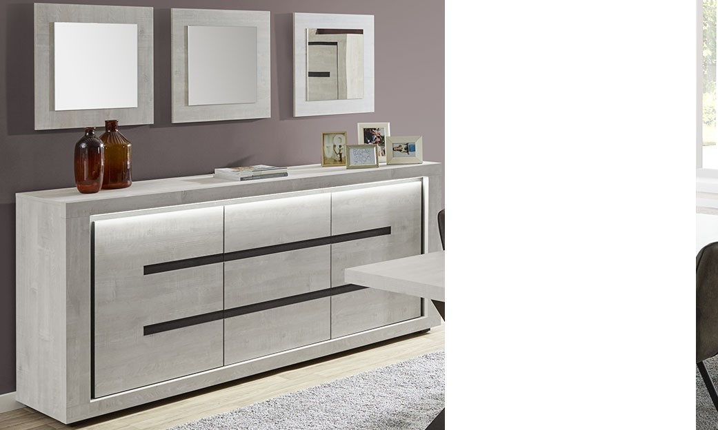 buffet lumineux contemporain couleur ch ne gris marla. Black Bedroom Furniture Sets. Home Design Ideas