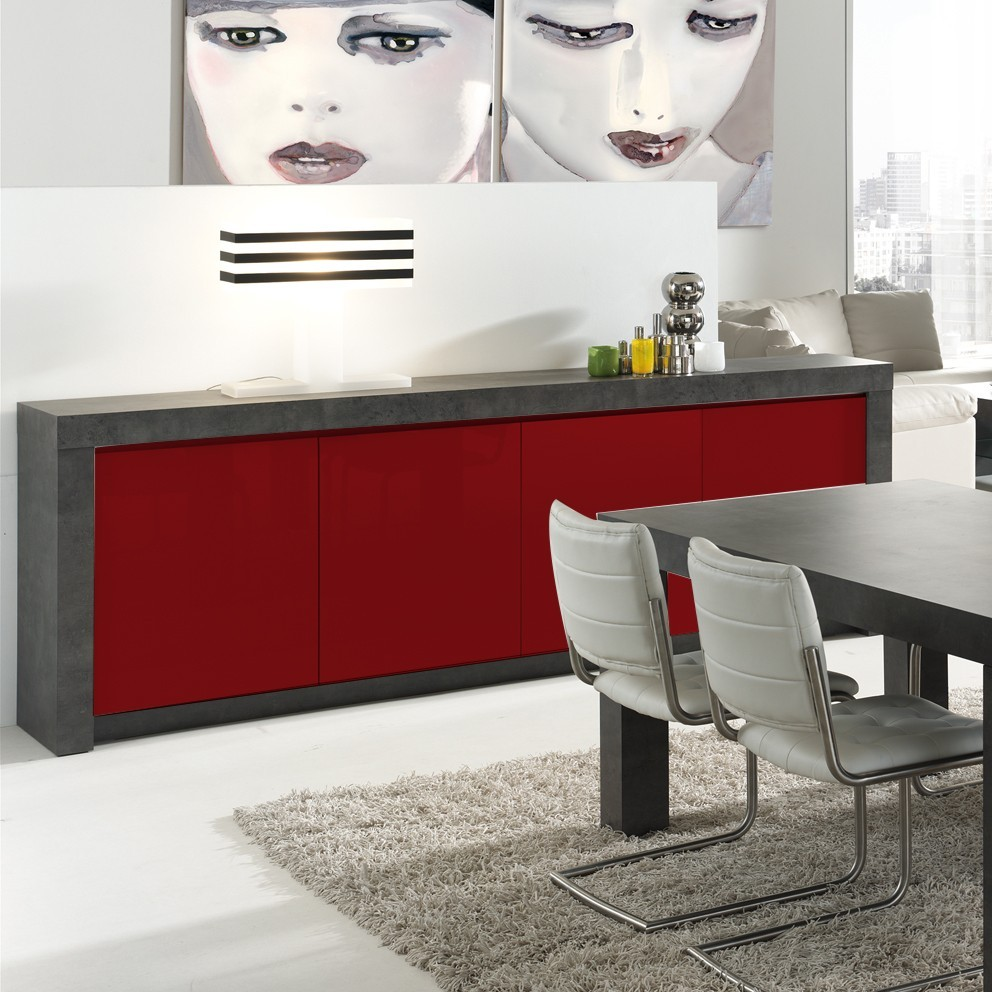 Buffet Gris Laqu Perfect Buffet Haut Gris Laqu Portes Design Budd  # Meuble Tv Rouge Laque