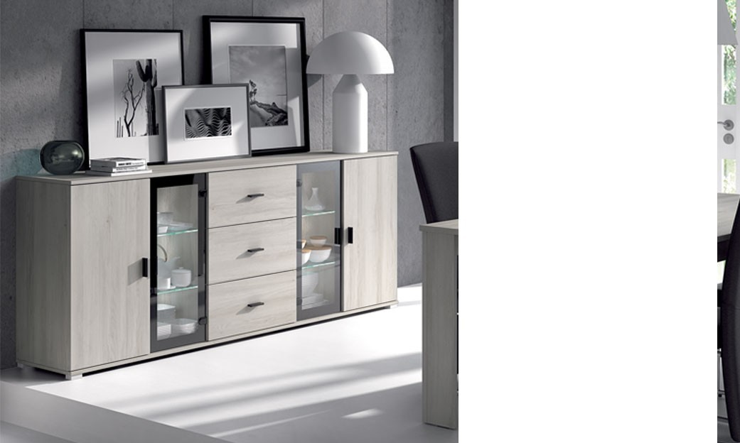 buffet bahut couleur ch ne gris contemporain violaine. Black Bedroom Furniture Sets. Home Design Ideas