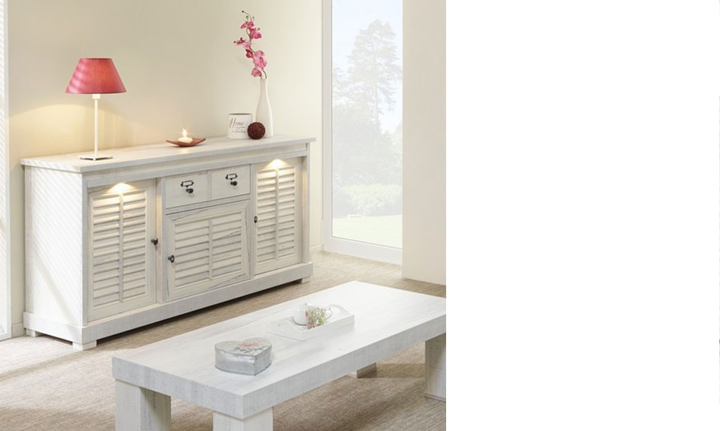 Buffet contemporain couleur blanc bois lanette for Buffet sejour blanc