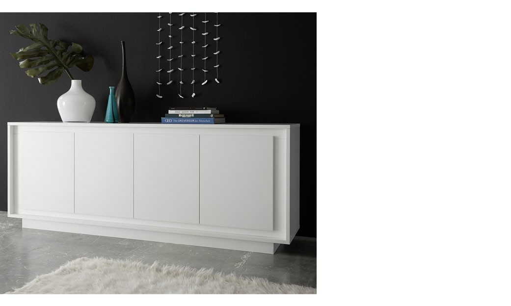 buffet blanc laqu design 4 portes elura. Black Bedroom Furniture Sets. Home Design Ideas