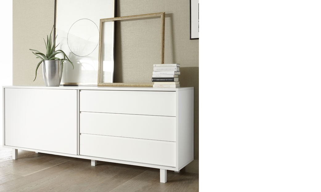 Buffet porte coulissante design blanc laqu flavia for Buffet bas design