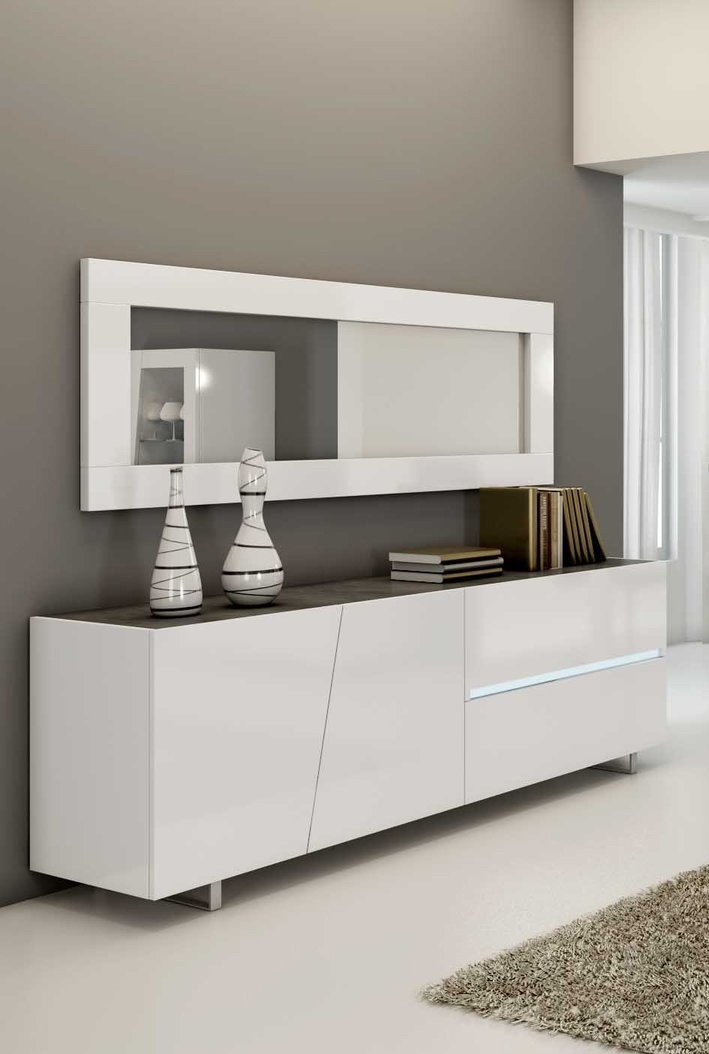 Buffet design blanc metal lizea zd1 bah d - Buffet salon blanc laque ...