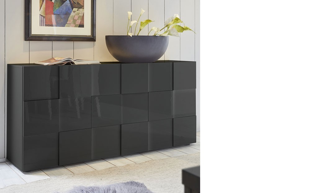 buffet design gris laqu atmore 2. Black Bedroom Furniture Sets. Home Design Ideas