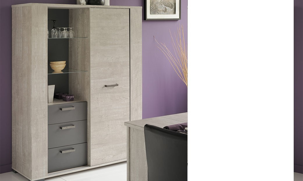 vaisselier contemporain couleur bois gris et anthracite pauline. Black Bedroom Furniture Sets. Home Design Ideas