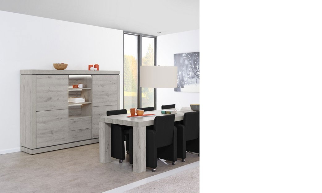 buffet haut contemporain couleur ch ne gris et noir pasadena. Black Bedroom Furniture Sets. Home Design Ideas