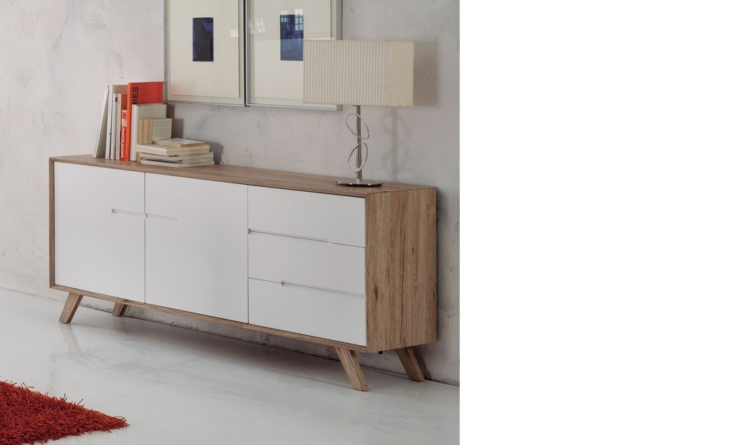 Buffet scandinave laqu blanc et couleur bois lars with for Buffet blanc laque conforama