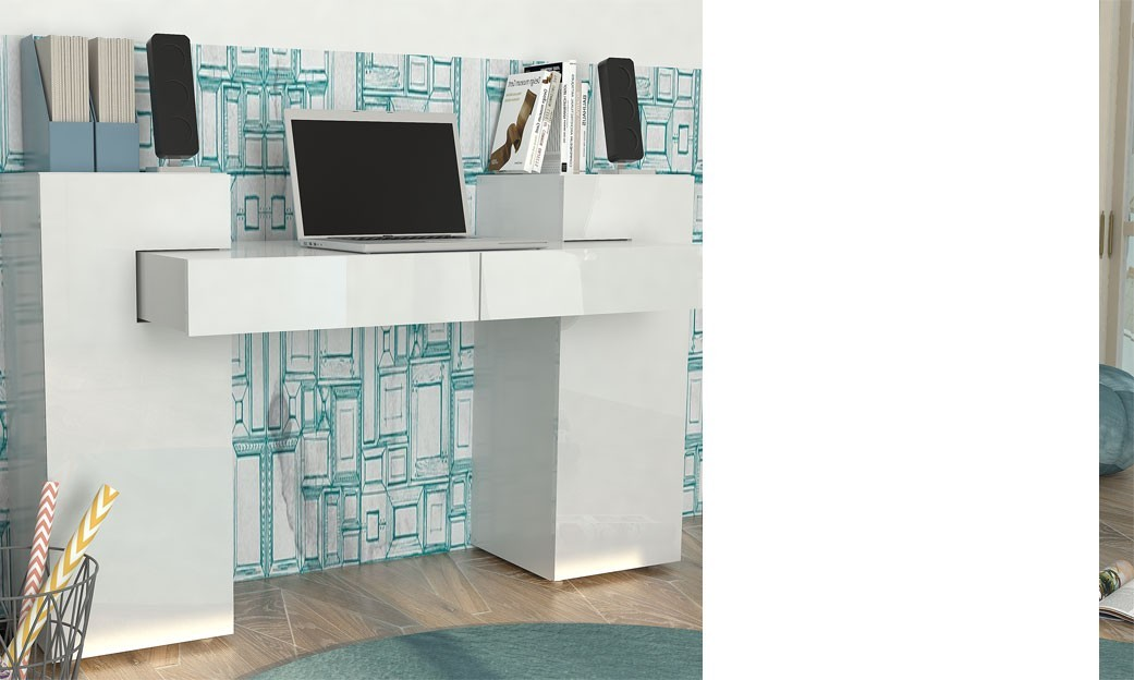 Bureau design adulte couleur blanc laqu austin for Bureau blanc laque pas cher